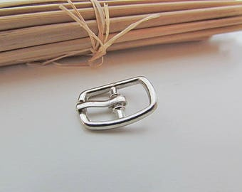5 small belt buckle for strap max 8mm - silver metal - 1.9 x 1.3 cm - 16.52