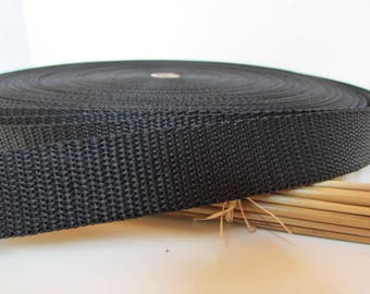 3 m strap 20 mm black, white polypropylene - ref 1