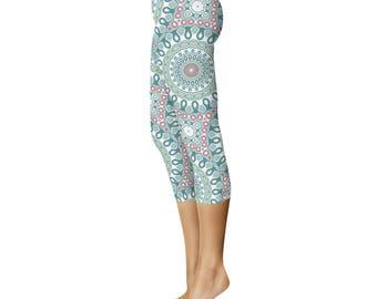 Printed Capri Leggings - Unique Tights, Green and White Medallion Pattern Yoga Pants, Modern Leggings, Mandala Clothing