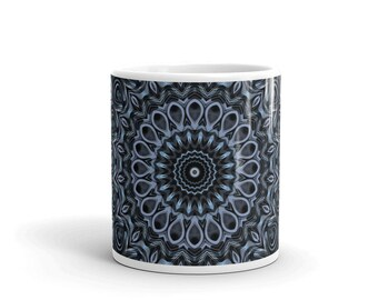 Dark Blue Mug, Decorative Coffee Mug, Hand Printed Cup for Coffee or Tea, All Occasion Gift