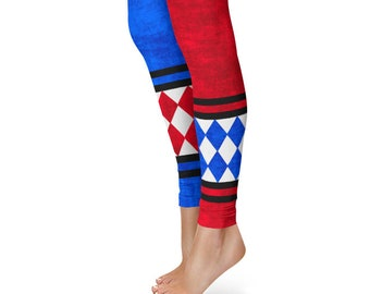 Harlequin Leggings, Red and Blue Joker Jester Tights, Harley Quinn Cosplay Costume Pants
