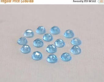 ON SALE Swiss Blue Topaz 4 MM Rose Cut Round Cabochons. Swiss Blue Topaz Faceted Cabs / Price per piece.