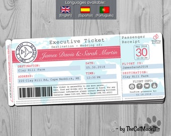 Airplane Ticket Wedding Invitation - Travel Themed Wedding - Pink & Blue wedding - Marriage - Flight Boarding Pass Invite - Around the World