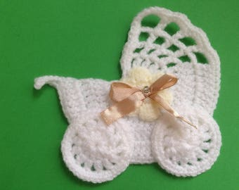 Crochet stroller,pushchair applique,embellishment,motif,sewing,for baby blankets,craft,pale yellow