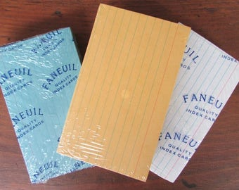 Colored Index Cards Three Packages NIP Blue Yellow White Lined Index Cards Office Supply