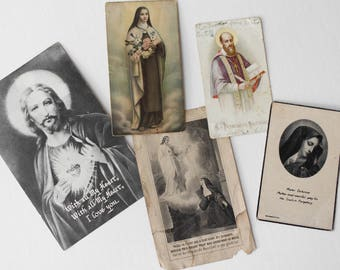 Vintage Holy Cards - Lot of 5 - Vintage Catholic Prayer Cards - Sacred Heart Virgin Mary Mourning Card