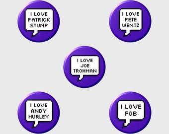 "Patrick Pete Joe Andy ""I LOVE"" Pixel Button+ (Select Style/Choice)"