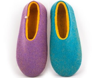House Shoes for Women, Felted Slippers, Merino Wool Slippers, Cool home slippers, Ladies soft slippers Lilac / Turquoise, warm slipper clogs