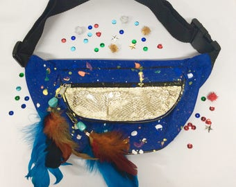 Gold Snakeskin Color Splatter Fanny Pack Festival Bum Bag