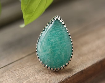 Amazonite Ring, Statement Ring, Sterling Silver Ring, Amazonite Statement Ring, Sterling Silver Amazonite Ring, Amazonite, SIZE 7 / SIZE O