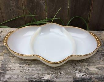 Vintage Fire King Milk Glass Divided Relish or Olive Dish, Gold Gilt Milk Glass Dish, Vanity Tray, Cottage Decor