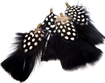 "Black and White Feathers Charm_ PA00216864/3251_Feathers_ Black point _ of 70 mm /2,75"" _ pack 4 pcs"