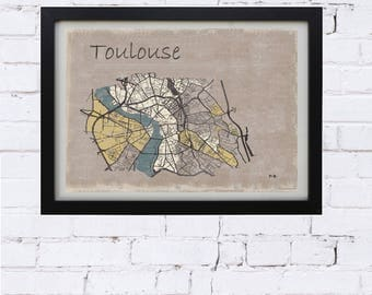 vintage poster, map, toulouse map poster toulouse decor living room, office decor, gift, toulouse street map, poster