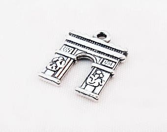 BVV18 - Pendant charm Arc de triomphe Paris 18 mm X 14 mm antiqued silver