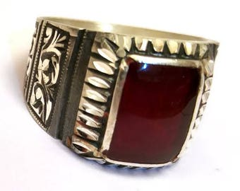 Hand made ottomane Turkish Arab Muslim Style 925 Sterling silver man ring with agate stone 12 USA size