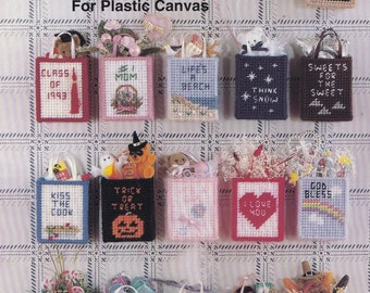 Mini Tote Magnets, Kappie Originals Plastic Canvas Pattern Book 179 Holiday & Everyday Fridgies