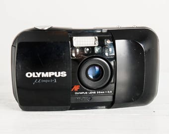 Olympus mju-1 QD + Samples! functional vintage 35 mm film compact analog point&shoot camera, Zuiko lens, Quartz Date, Case + Handstrap!