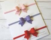 Baby Toddler Girls Small Felt Bow Headbands - Baby Headbands -Christening -Wedding Hair -Bridesmaid -Hair Bows- Newborn Headband -Girls Bows