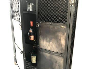 Nice Industrial Liquor Cabinet, Wall Hanging Glassware And Wine Locker, Lockable  Cabinet, Steampunk,