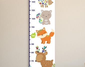 Woodland Growth Chart, Floral Growth Chart, Woodland Animals, Kids Canvas Growth Chart, Animals Growth Ruler, Woodland Nursery Decor,Flowers