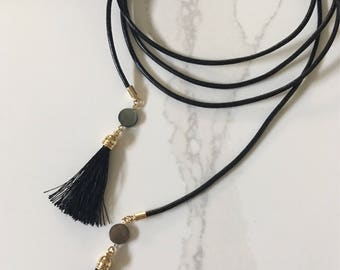 Black Leather Wrap Necklace | Abalone Charm | Tassle Necklace
