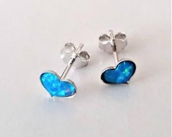Tiny Sterling Silver Heart Shape Stud Earrings, Blue Emulated Opal Stud Earrings, Small Post Earrings, Minimalist Everyday Earrings.