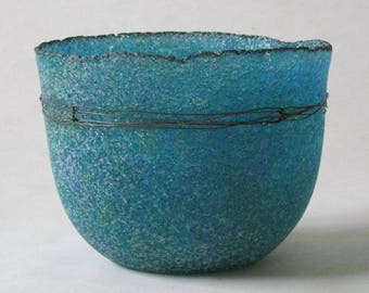 pate de verre (glass) blue vessel with steel wire g17-084