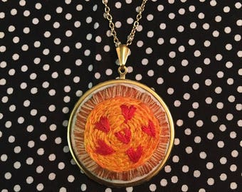 "Pizza my Heart Embroidery Necklace  - ""You've Got a Pizza my Heart"" Embroidered Jewelry Art"