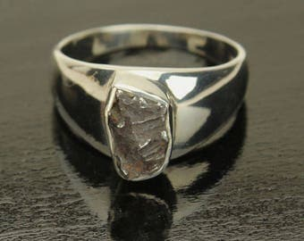 Meteorite Silver Ring, Genuine Meteor, Sterling Silver Band, Mens Ring