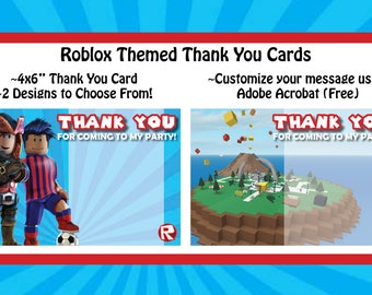 Roblox Themed Thank You Cards