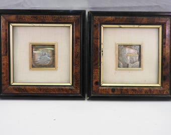 pair of antique solid silver miniature pictures,framed, signed,hallmarked