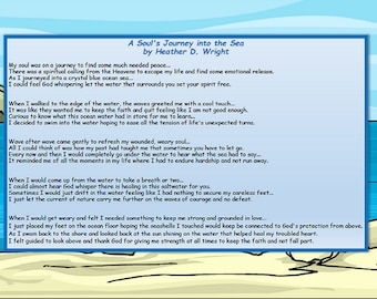 A Soul's Journey Into the Sea - Printable Poetry Instant Download