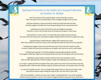 Spiritual Protection in the Midst of a Seagull Collection - Printable Poetry Instant Download