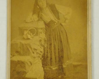 Antique Black White Cabinet Card Photograph Photo Bishop Studios Gypsy Peasant Lady Woman Leaning Hands on Hip Vintage Photo Collage