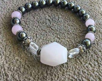 Please énergétisé magnetic Hematite Bracelet, rose quartz, silver plated beads