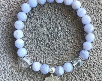 Energized bracelet well be chalcedony AA grade and 925 sterling silver heart