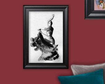 Flamenco dancer, drawing, ink drawing, original painting, Carmen
