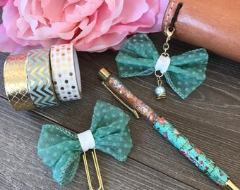 Green Bow Planner Clip TN Charm