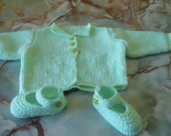 vest and booties - handmade 0/3 months baby knit-