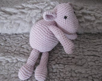 Pink tenderness diabolote doudoupetite completely hand made in 100% cotton crochet