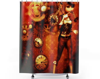 steampunk decor steampunk shower curtain steampunk bath steampunk bath decor shower curtains