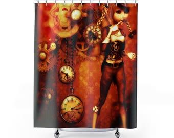 steampunk decor, steampunk shower curtain, steampunk bath, steampunk bath decor, shower curtains, bath curtain, bathroom decor, bath decor
