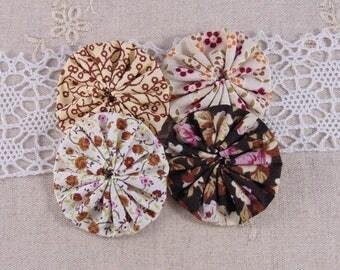 x 4 fabric flowers yoyos multicolor ref31
