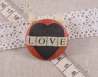 x 1 28mm fabric button love ref A12