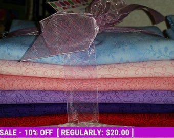 SALE! Half - Yd - Cool Colors - 6 Print/Solids - P&B Textiles