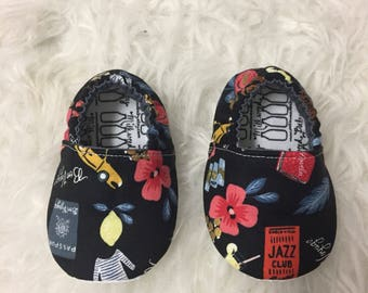 Baby Moccs: Rifle Paper Co. Vacation Soft Sole Baby Toddler Shoes - Made to Order - Bon Voyage - Pineapple - Hibiscus - Paris - Moccasins