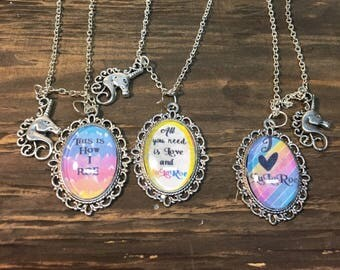 Pendant with quotes necklace .unicorn charm necklace .mythical jewelry.fantasy jewelry. Unicorn pendant . Unicorn charm necklace