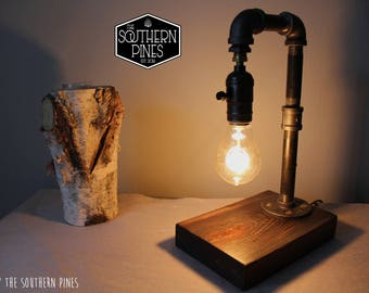 Steampunk Industrial Table Lamp | Rustic Lighting | Steampunk Light | Edison Bulb | Reading Light | Modern Rustic | Espresso | Reclaimed