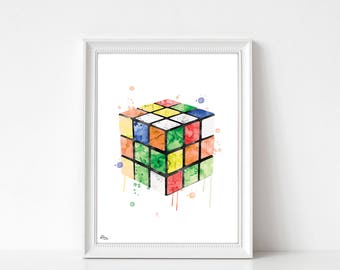 Rubik's cube poster, poster rubik's cube, original wall decoration, gift idea, birthday gift, father's day