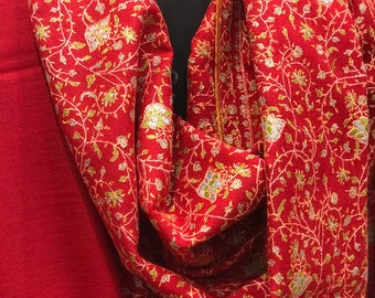 Red Pure Pashmina Shawl/Wrap with allover sozni embroidery, Pure Cashmere Shawl, Sozni Hand Embroidery, Kashmiri Jaal Sozni Work, Red Scarf